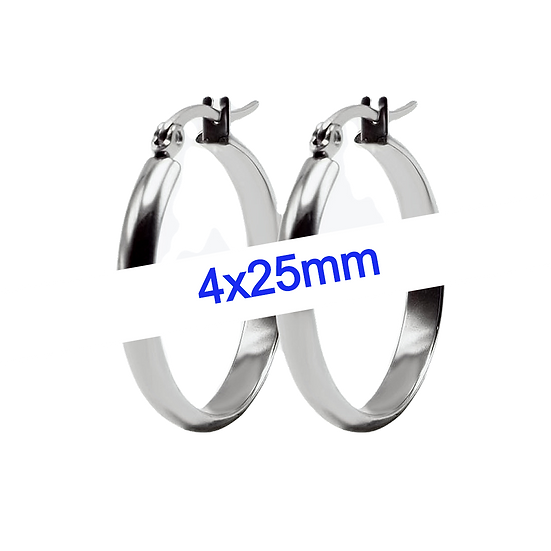 Stainless Steel 4x25mm Hoop Earrings
