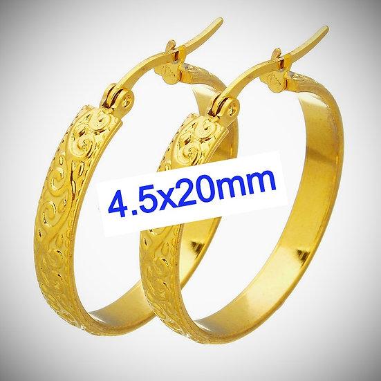 Stainless Steel 4.5x20mm Fancy Golden Huggie Hoop Earrings