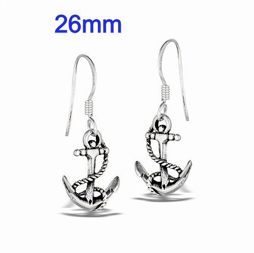 Sterling Silver Anchor And Line Dangle Earrings