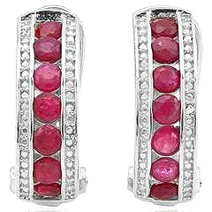 GENUINE RUBY & GENUINE DIAMOND EARRINGS