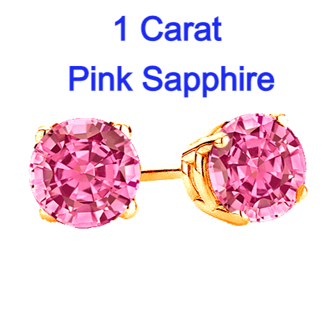1 Carat T.w. Pink Sapphire Earrings in 14k Yellow Gold.