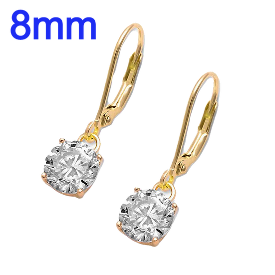 Sterling Silver 8mm Yellow Gold Plated Drop Dangle Round CZ Lever back Earrings
