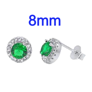Sterling Silver Emerald Green Round Shaped CZ Halo Earrings