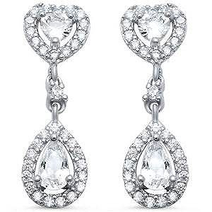 Sterling Silver Pear Cubic Zirconia 8mm wide Halo Earrings