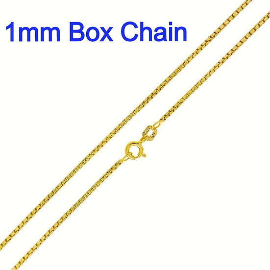 "Sterling Silver Italian Round Diamond Cut Gold Plated 20"" Box Chain"