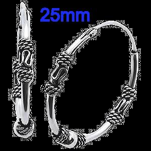 Sterling Silver 25mmBali Design Hoop Earrings