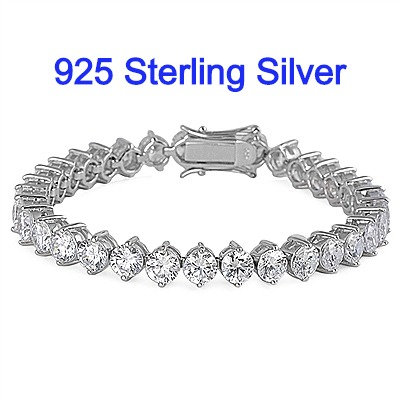 Sterling Silver Bracelet WithCZ Diamond Simulants