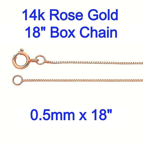"14K Rose Gold 0.5mm x 18"" Box Chain"