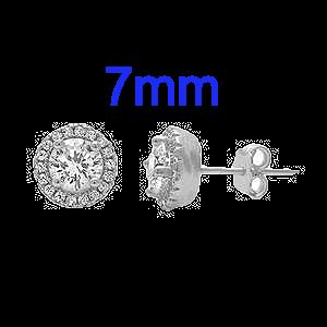 Sterling Silver Halo Cubic Zirconia Earrings