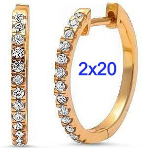 Sterling Silver Yellow Gold Plated 2mm X 20mm Cz Hoop Earrings