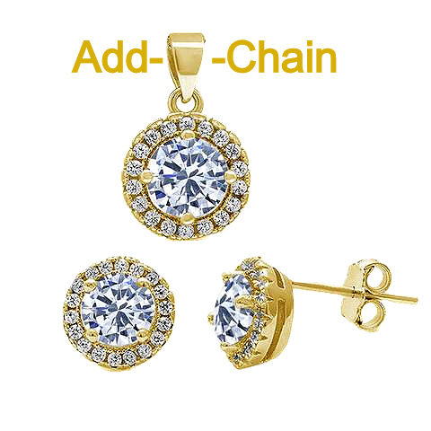 7 Sterling Silver Yellow Gold Plated Halo CZPendant and Earrings Set