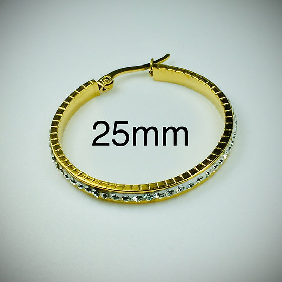 25mm Stainless Steel Gold color Hoop Earrings with Clay Pave set Rhinestone's