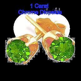 1 Carat Chrome Diopside Earrings in 14k Gold
