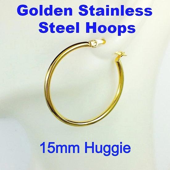 Stainless Steel 2mm x 15mm Golden Huggie Hoop Earrings