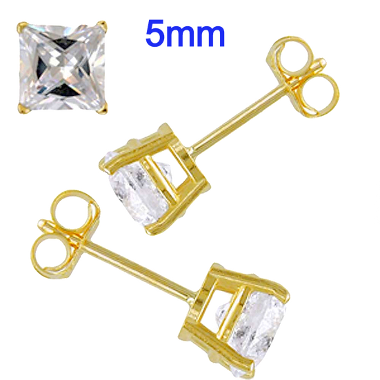 14K Yellow 5mm Gold Stud Earrings Aprx 1 Carat Total Weight