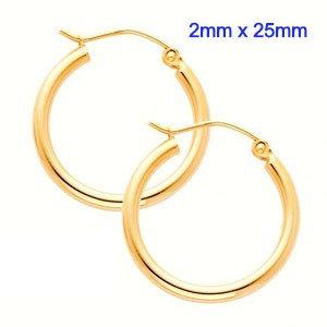 14K Yellow Gold 2mm x 25mm in Diameter Classic Snap Post Hoop Earrings