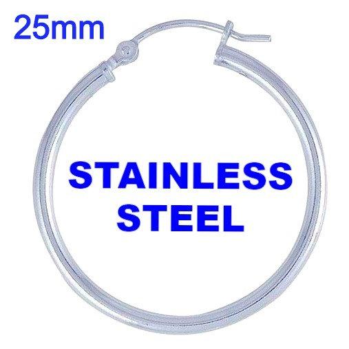Stainless Steel 2mm x 25mm Hoop Earrings