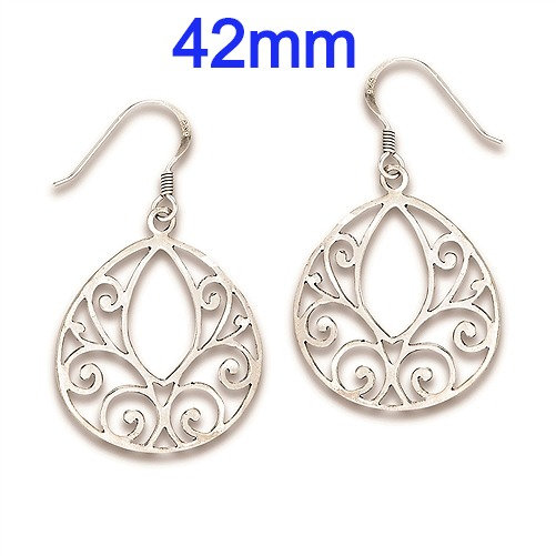 Sterling Silver Swirl Filigree Drop Dangle Earrings