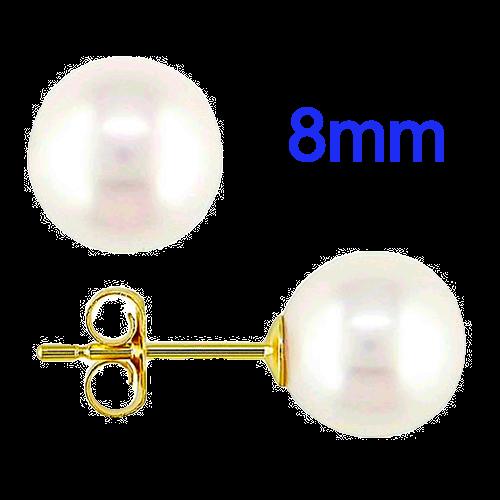 8mm Pearl Stud Earrings in 14k Yellow Gold