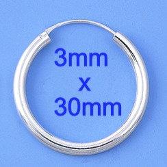 Continuous SilverHoop Earrings - 3 X 30 mm