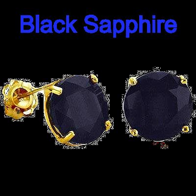 1.2 CARAT TW (2 PCS) GENUINE BLACK SAPPHIRE   SET IN 10K SOLID YELLOW GOLD EARRINGS
