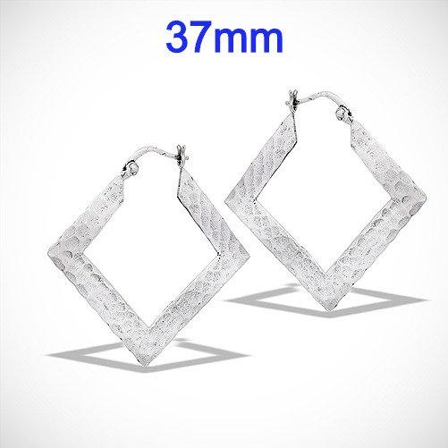 925 Sterling Silver Hammered Square Hoop Earrings