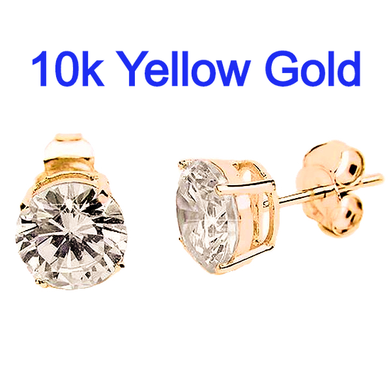 6mm Round Simulated Diamonds Set in High Quality 10k Gold Prong Settings