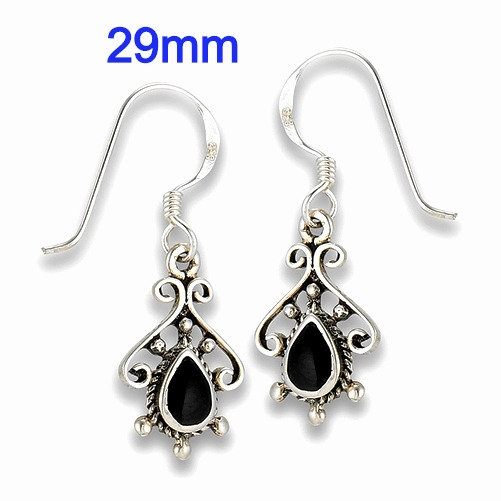 Sterling Silver Bali Style Earrings With Synthetic Black Onyx
