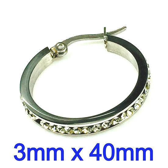 Stainless Steel 3mm x 40mm Hoop Earrings with rhinestone's