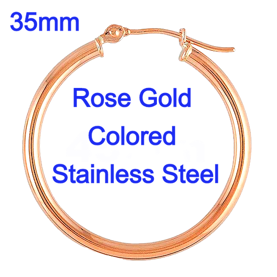 Stainless Steel 2x35mm Rose Gold colored Hoop Earrings