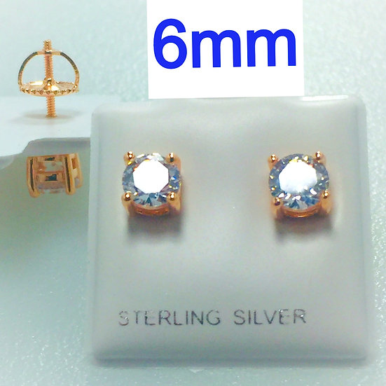 Sterling Silver Round Rose Gold Plated .925 Screw Back 6mm CZ Earrings