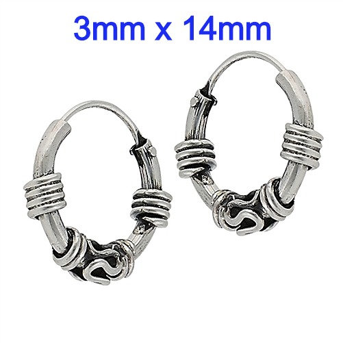 Sterling Silver 3mm x 14mm Bali Hoop Earrings
