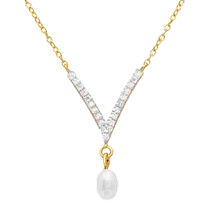 Sterling Silver Gold Plated V Shape Fresh Water Pearl CZ Necklace