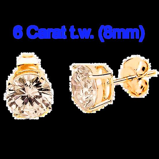 6 Carat 8mm Simulated CZ Diamond StudEarrings.