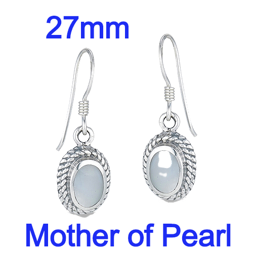 Sterling Silver Braided Bali Dangle Earrings With Mother Of Pearl
