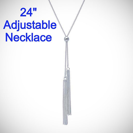 Sterling Silver Adjustable Wheat Chain Y-Style Necklace with Tassels.