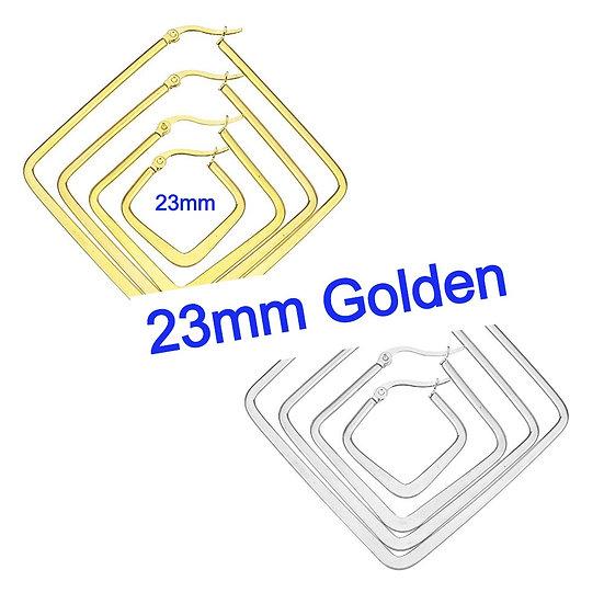 Stainless Steel 23mm Golden Rhombus Hoop Earrings