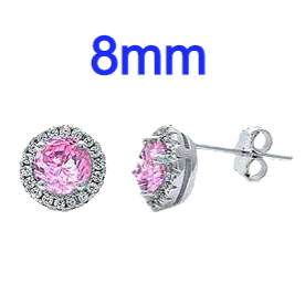 Sterling Silver Pink And White Cz Halo Earrings