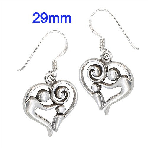 Sterling Silver Parent and Child Heart Earrings