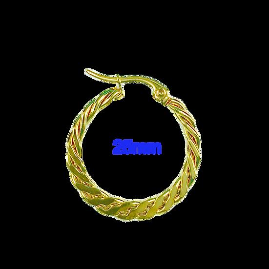 Stainless Steel 25mm Golden Hoop Earrings