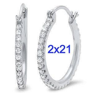 Sterling Silver Cubic Zirconia Round Hoop Earrings.