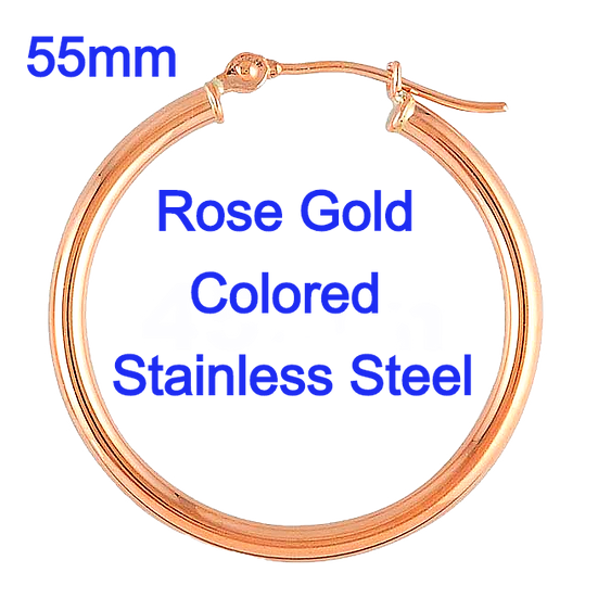 Stainless Steel 2x55mm Rose Gold colored Hoop Earrings