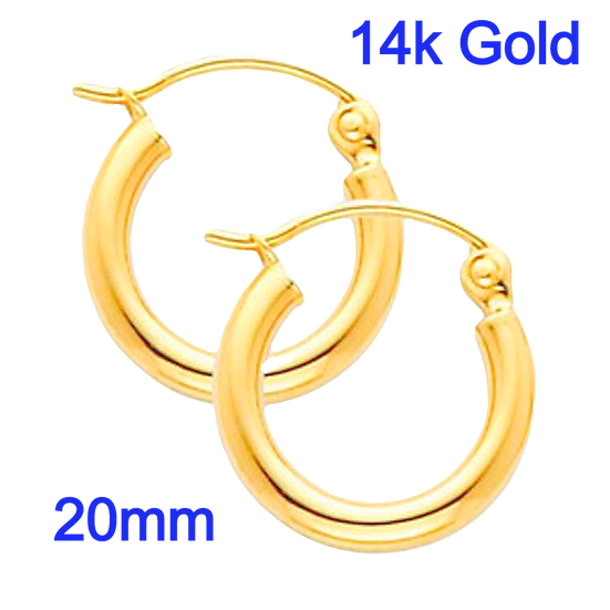 14K Yellow Gold 2mm x 20mm in Diameter Classic Hoop Earrings  With Snap Post Closure
