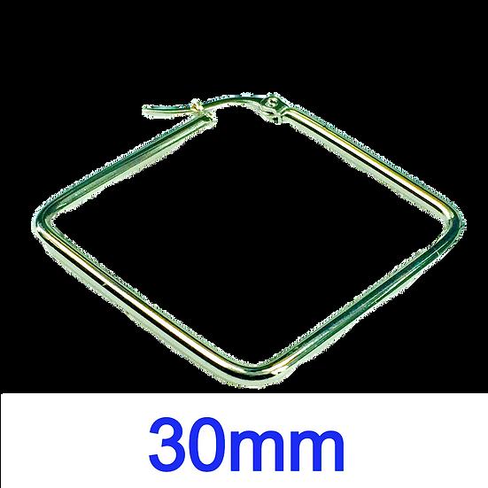 Stainless Steel 30mm Rhombus Hoop Earrings