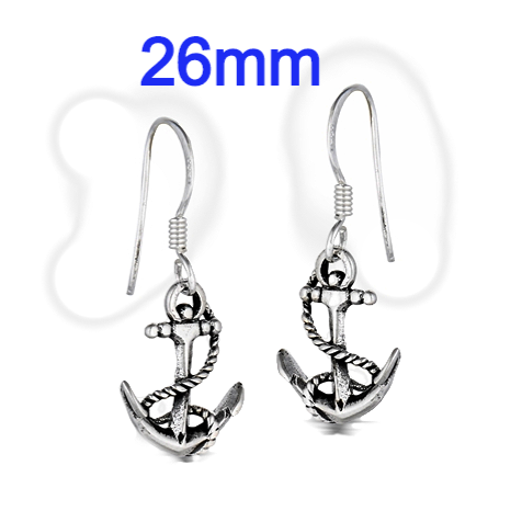 Sterling Silver Line And Anchor Dangle Earrings
