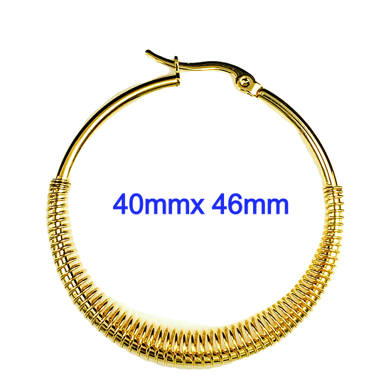 Stainless Steel 46mm x 40mm Golden Hoop Earrings