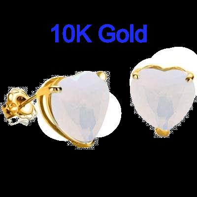 .90 Carat Lab Opal set in 10k Gold Earrings