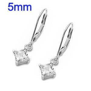 1 Carat t.w. Sterling Silver 5mm Rhodium Drop Dangle Square CZ Lever back Earrings