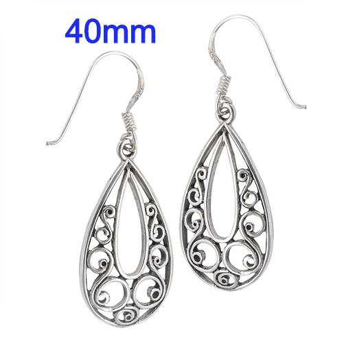 Sterling Silver Heavy Filligree Scroll Earrings