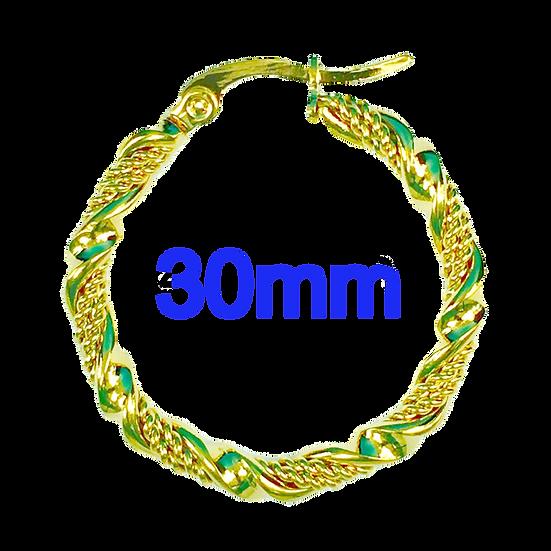 Stainless Steel 30mm Fancy Swirl Golden Hoop Earrings